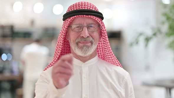Thumbnail for Senior Old Arab Businessman with Pointing and Inviting