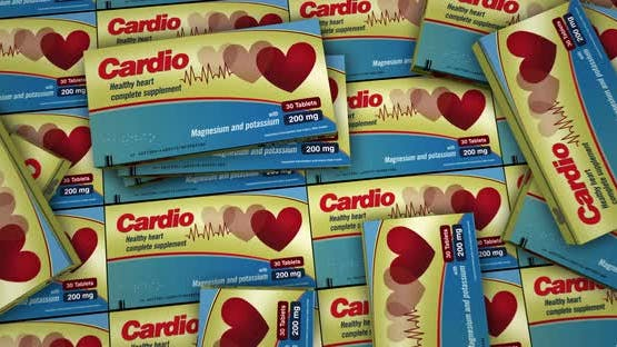 Cardio medicine pills in packs distribution