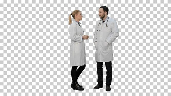 Thumbnail for Two professional doctors talk before operation, Alpha Channel