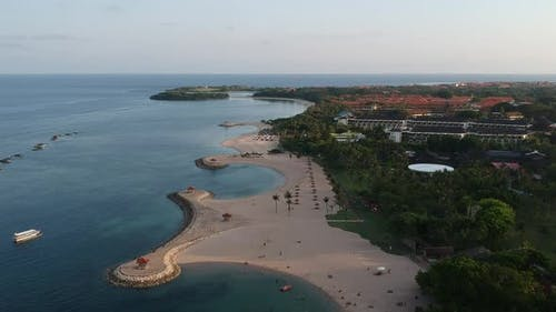 Aerial drone view of Holiday In Sanur Beach, Bali, Indonesia