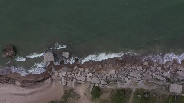Thumbnail for Drone Footage of destroyed old  Military fort ruins near sea