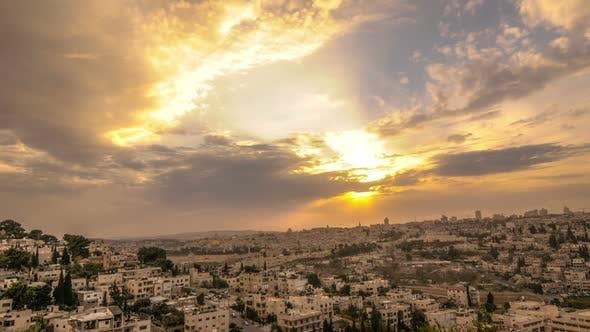 Cloudy sunset above Jerusalem
