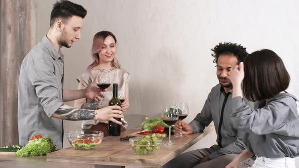 Thumbnail for Happy Friends Toasting with Wine on Dinner