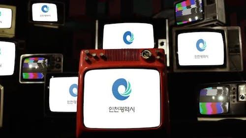 Flag of Incheon, South Korea, and Retro TVs.