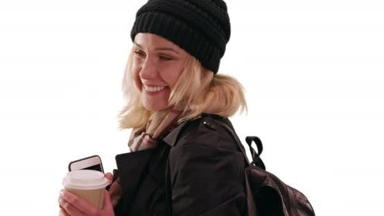 Thumbnail for Beautiful sweet blonde young lady smiling at camera on solid white copy space