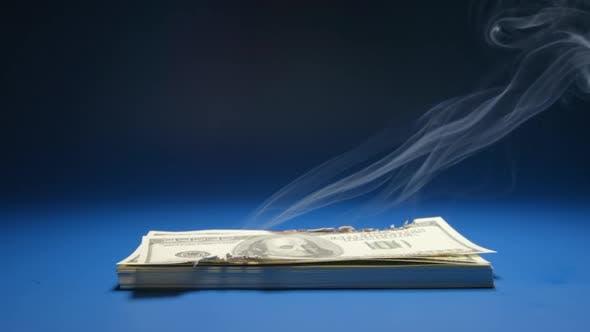 Thumbnail for Heap Of Paper Money (US Dollar) Smoking