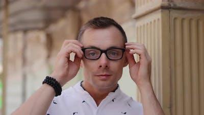 Man Have Myopia Wearing Eyeglasses