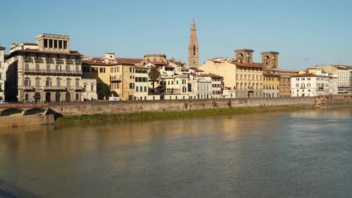 Buildings on the Arno River Embankment in Florence