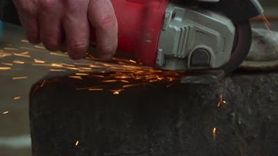 Cutting Metal And Sparkles