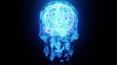 Blue Neon Skull With Bright Mind Rotation  4K