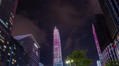 time-lapse of Shenzhen city famous building downtown aerial panorama 4k time-lapse, Shenzhen, China.
