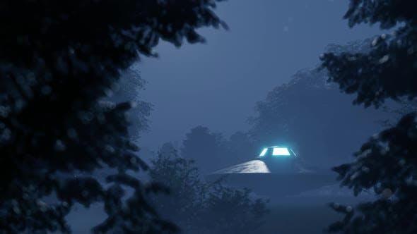 Thumbnail for Ufo flog nachts über den wilden Wald