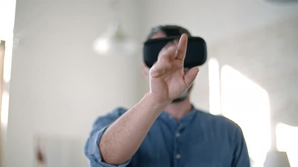 Bearded Man Working in Virtual Reality