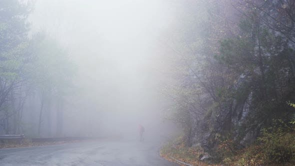 Thumbnail for Lonely Man Is Walking in Mysterious Fog. Man in Red Jacket Searching for Signal on His Mobile Lost