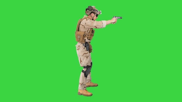 Thumbnail for Soldier Aiming and Shooting with a Pistol on a Green Screen, Chroma Key.