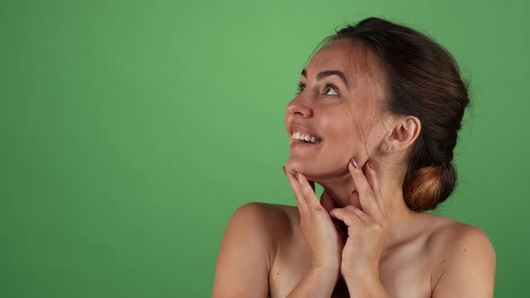Thumbnail for Attractive Woman Looking Surprised on Green Chromakey Background