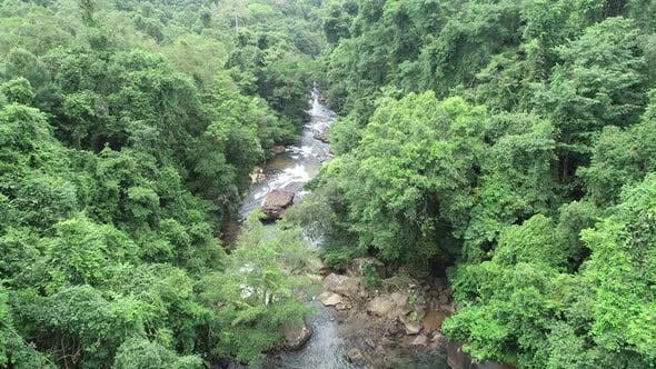 Thumbnail for Aerial View of River In Jungle On Tropical Island Koh Kut