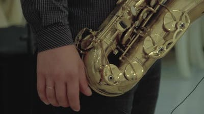 Saxophonist Plays on the Saxophone
