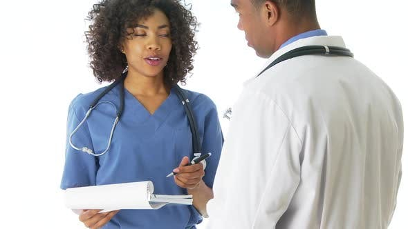 Thumbnail for Two African-American doctors talking