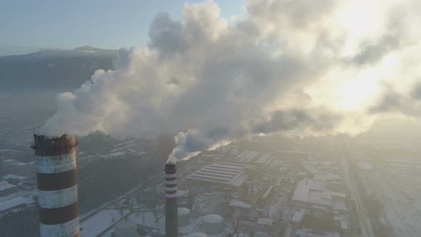 Aerial View of Smog Pollution From City Factory in Sofia, Bulgaria