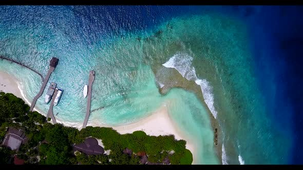 Thumbnail for Aerial top down panorama of beautiful bay beach wildlife by shallow lagoon with white sandy backgrou