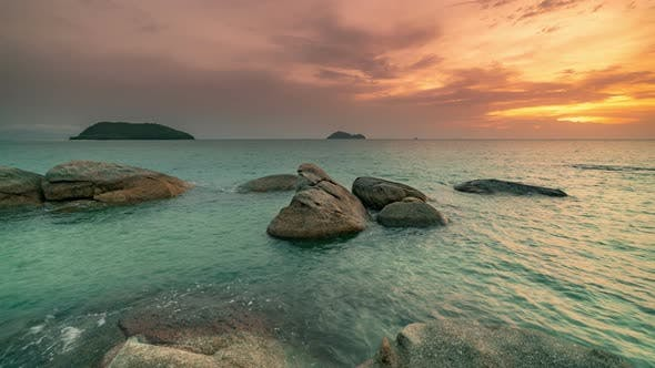 Cover Image for Amazing Landscape Sunset in the Sea with Black Stone