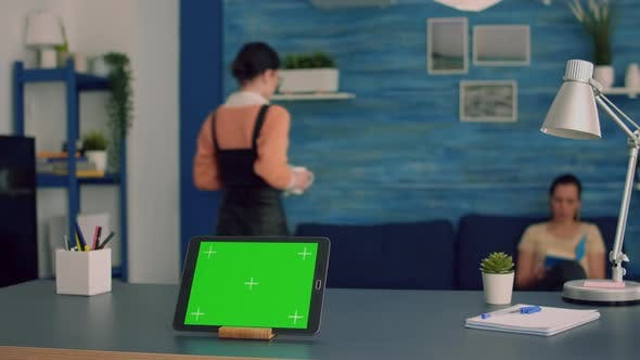 Tablet Computer with Mock Up Green Screen Chroma Key Display