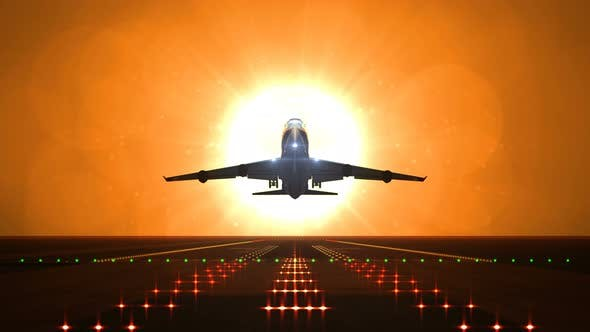 Thumbnail for Big Airplane Departs from Airport Runway against Large Sunset or Sunrise