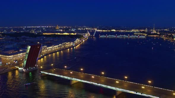Thumbnail for Night Flight Over The Neva River And The Bridges in St. Petersburg