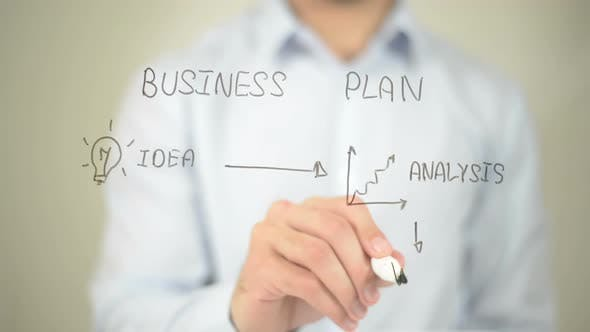 Thumbnail for Business Plan, Businessman Writing on Transparent Screen