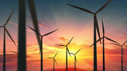 Wind Turbines Farm at Beautiful Orange Sunset, Ecologic Energy Generators on Beautiful Sunny