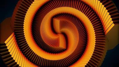 Spiral psychedelic orange tunnel background