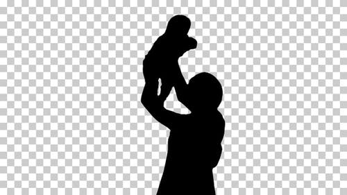 Silhouette Woman and baby, Alpha Channel