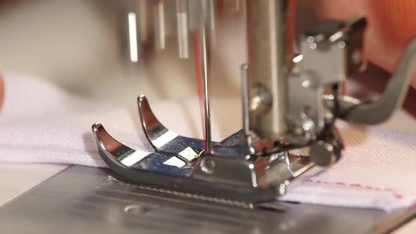 Thumbnail for Sewing Machine Sews Straight Stitch. Slow Motion