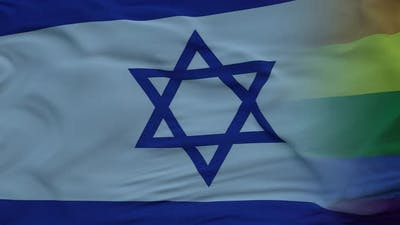 Waving National Flag of Israel and LGBT Rainbow Flag Background