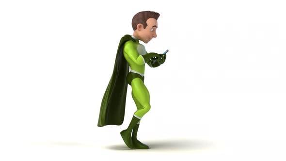 Fun 3D cartoon superhero walking with a smartphone