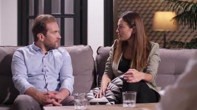 Couple Arguing at Psychologist