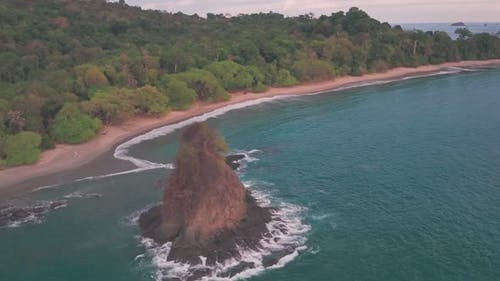 Espadilla South white sandy tropical Beach at Manuel Antonio National Park, Costa Rica, Aerial drone