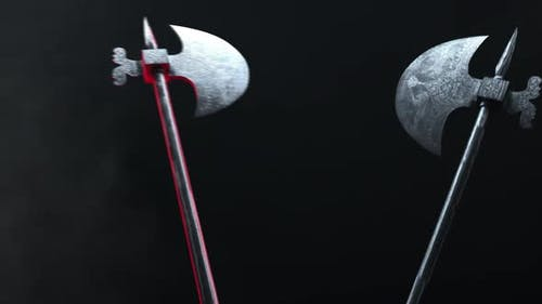 Two Halberds Collide in Battle and Strike