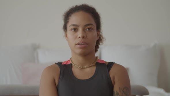 Thumbnail for Calm Black Female Doing Restorative Yoga Exercise