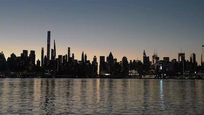 New York City Skyline Silhouette Sunrise