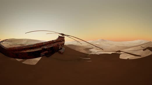 Thumbnail for VR360 Old Rusted Military Helicopter in the Desert at Sunset