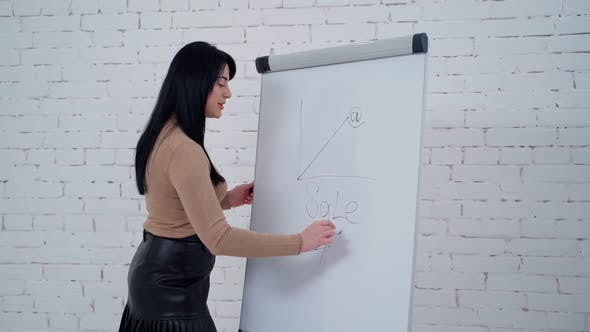 Woman writing on white board. Young business woman writing on board