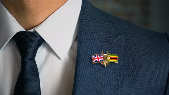 Thumbnail for Businessman Friend Flags Pin United Kingdom Zimbabwe