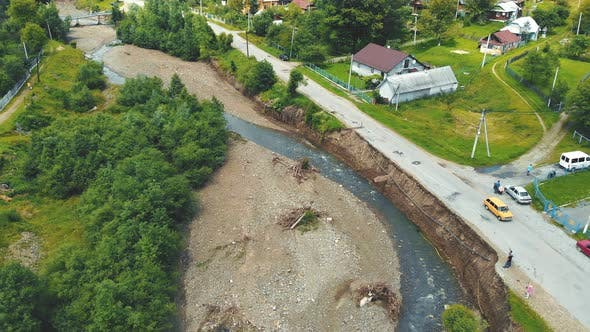 Aerial View Road in the Village Which Was Destroyed By a Flood on the River. The Asphalt Road Which