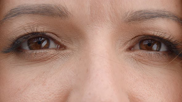 Thumbnail for Brown Woman Eyes Close Up. Women's Eyes Are Brown, Slowly Closing and Opening. Perfect Female Eyes.