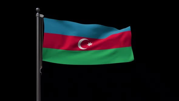 Azerbaijan Flag On Flagpole With Alpha Channel