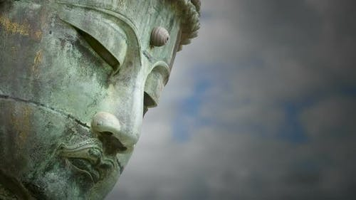 Buddha with Clouds in Blue Sky Moving
