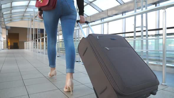 Thumbnail for Legs of Business Woman Going Through Hall of Terminal with Her Luggage. Unrecognizable Girl in High
