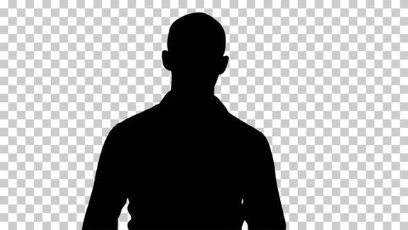 Silhouette Casual man walking, Alpha Channel